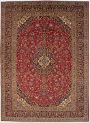 Semi Antique Handmade Classic Floral 10x14 Red Signed Oriental Rug Home Carpet