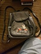 Betty Boop Backpack Purse Black Leather
