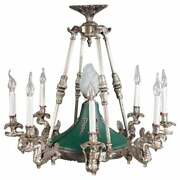 Chandelier In Empire Style 8 Arms In Swan Mould Silver Plated