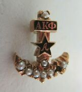 Usa Fraternity Pin Alpha Kappa Phi. Made In Gold. Named. Marked. 1417