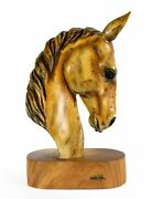 18 Solid Wood Hand Carved Horse Art Head Statue Decorative Accent Horse