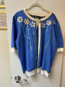 Bob Mackie Wearable Art Navy Blue Flower Open Front Embroidered Cardigan Size Xl