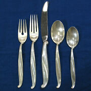 International Swan Lake 5pc Sterling Silverware Service For 12 And Serving - 75pcs