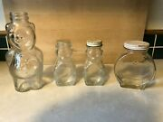 Lot 0f 4 Vintage Glass Coin Banks One Large Piggy Two Small Bears One Time Clock