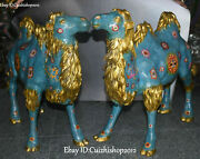 24 China Cloisonne Enamel Gilt Feng Shui Wealth Camel Llama Animal Statues Pair