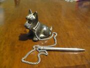 Vintage Metal Scottie Dog Sitting With Chain And Mechanical Pencil-japan