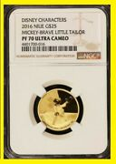2016 Disney Character 25 1/4 Oz Gold Mickey Brave Little Tailor Ngc Pf 70 Uc