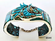 Beautiful Variety Turquoise Chips Inlay .925 Silver Horse Cuff Bracelet 7-1/2