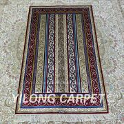Yilong 2.5and039x4and039 Handknotted Silk Rug Striped Pattern Living Room Carpet H155b