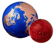 2021 3 Oz. Silver Coin Blue Marble Planet Earth With Rose Gold +andnbsp1 Oz. Mars