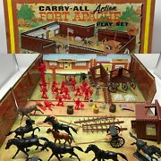 1968 Marx Fort Apache Tin Litho Play Set 4685 Tons Of Accessories Western Cowboy