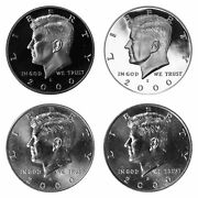 2000 P D S S Kennedy Half Dollar Year Set Silver And Clad Proof And Bu Us 4 Coin Lot