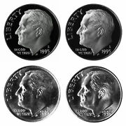 1995 P D S S Roosevelt Dime 10c Year Set Proof And Bu 4 Coin Set W/ Silver Dime