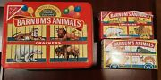 Vintage Nabisco Animal Crackers Tin + 2 Unopened Boxes With Vintage Cage Design