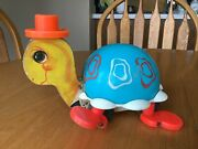 Very Nice Vintage Fisher Price Tippy Toe Turtle 773 Wooden Pull Toy 1962
