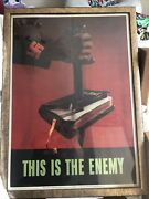 This Is The Enemy 1943 Vintage World War 2 Ii Ii Two Ww Original Poster 22x28 Nm