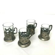 Unique Collection Of Vintage Art Deco Silver Shot Glass Cup Holders 4 Glasses