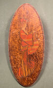 Antique Pyrography Japanese Kimono Maiden Women Wood Wall Hanging Plaque