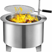 Smokeless Fire Pit 22 In Stainless Steel Outdoor Firepit Bonfire W/ Grate, Cover