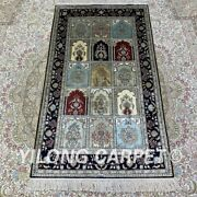 Yilong 2.5and039x4and039 Handknotted Silk Carpet Home Indoor Traditional Rug H180b