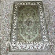 Yilong 2.5and039x4and039 Green Handknotted Silk Carpet Home Indoor Classic Rug H188b