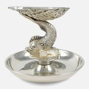 Vintage Irish Silver Dolphin And Shell Centrepiece Dish Dublin 1969 21.32ozt