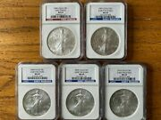 2006 2007 2008 2009 And 2010 1 Oz American Silver Eagle 5 Coins Ngc Ms 69 Labels