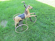 Vintage Antique Rare Old 1800s Carved Wood Horse Velocipede Tricycle For Child
