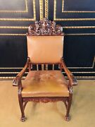 Throne Chair In Neo Renaissance Style Oak With Carved Crown With Lions