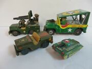 Antique Japanese Tin Friction Anti-aircraft Army Jeep Tank Soldiers Toy Lot Of 5