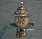 Antique Sino-tibetan Buddhist Dhakya Silver Cup Stand And Cover 19th Century Tibet