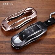 New Porsche Key Chain Cover Case Leather Aluminum Fob Ring Gold Silver Black