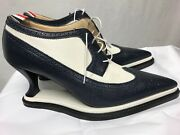 Authentic Thom Browne Oxford Longwing Lace Up White/blue Leather Shoe Size 10
