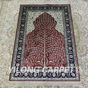 Yilong 2.7and039x4and039 Red Handknotted Silk Carpet Kid Friendly Luxury Area Rug H208b