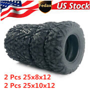4 Pcs Tire Set Atv Tires 25 25x8x12 25x10x12 With Warranty 6ply Front And Rear