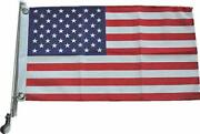 Stainless Steel Boat Yacht Marine Flag Pole With Us Flag Rail Mount Boat Pulp...