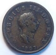1807 Great Britain Half Penny Copper Coin George Iii