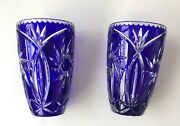 Two Crystal Vase Bohemian Crystal Cobalt Blue Cut To Clear Glass Antique