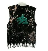 Embroidered Haida Whale Custom Bleach Distressed Destroyed Fringe Cotton Tank L