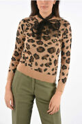 Red Valentino Women Knitwear Animal Embroidered Sweater With Tulle Tie Neck