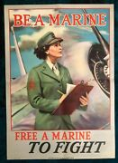 Wwii Ww2 Original War Poster Us Marine Corps Recruiting Military Airplane Fight