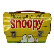 Snoopy Doghouse Metal Thermos Lunchbox 1968 Schultz Peanuts Yellow Sandwich Usa