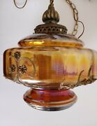 Vintage Mid Century Carl Falkenstein Colorful Irridescent Swag Hanging Lamp Wow