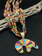 """Navajo Raised Inlay Multi-color Reversible Bear Necklace W/ 21"""" Beads"""