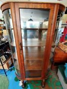 Tiger Oak Antique Curio Cabinet W/curved Glass Side Panels And Glass Door Front