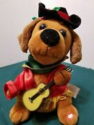 Gemmy Inc 9 Christmas Plush Singing Dog / Puppy With Guitar Lights Up And Barks