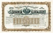 George M. Cohan Signed 10000 State Of New York Bond Loan Of Canal Improvement