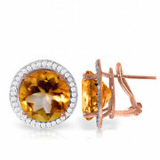 Genuine Citrine Gem And Diamonds French Clip Earrings 14k White Yellow Rose Gold