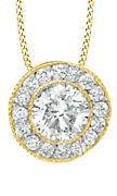 1/3 Ct White Natural Diamond Cluster Pendant Necklace In 14k Yellow Gold