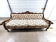 Vintage Antique French Gilt Style Floral Flowers White Sofa Couch 1960s